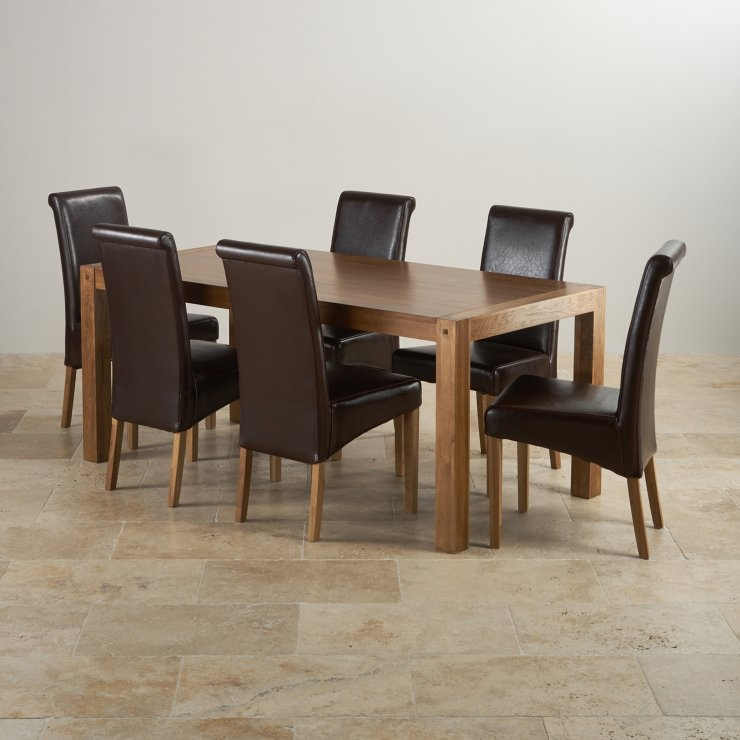 Quercus Dining Table In Rustic Oak 6 Scroll Back Leather