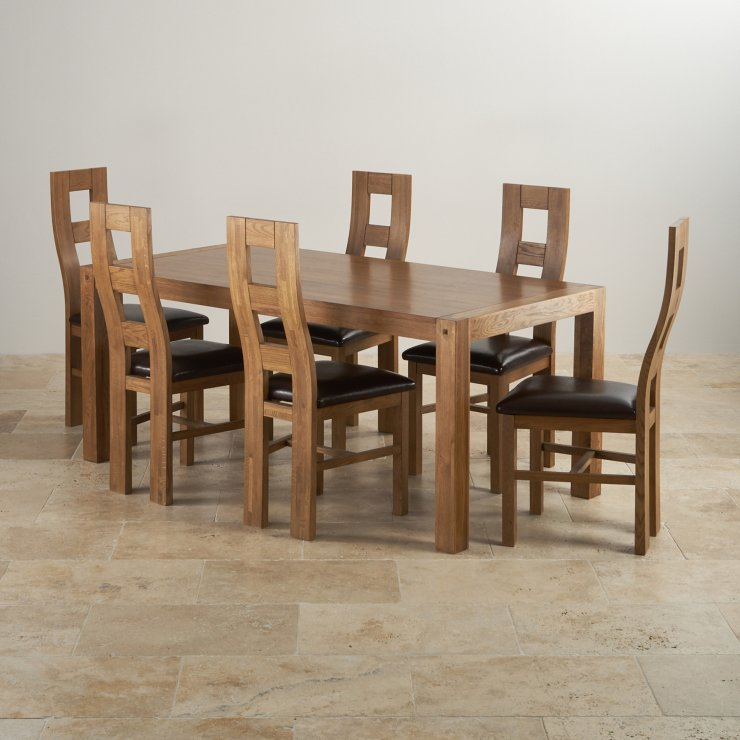 Quercus Rustic Real Oak 6ft Dining Table with 6 Wave Back and Brown Leather Chairs