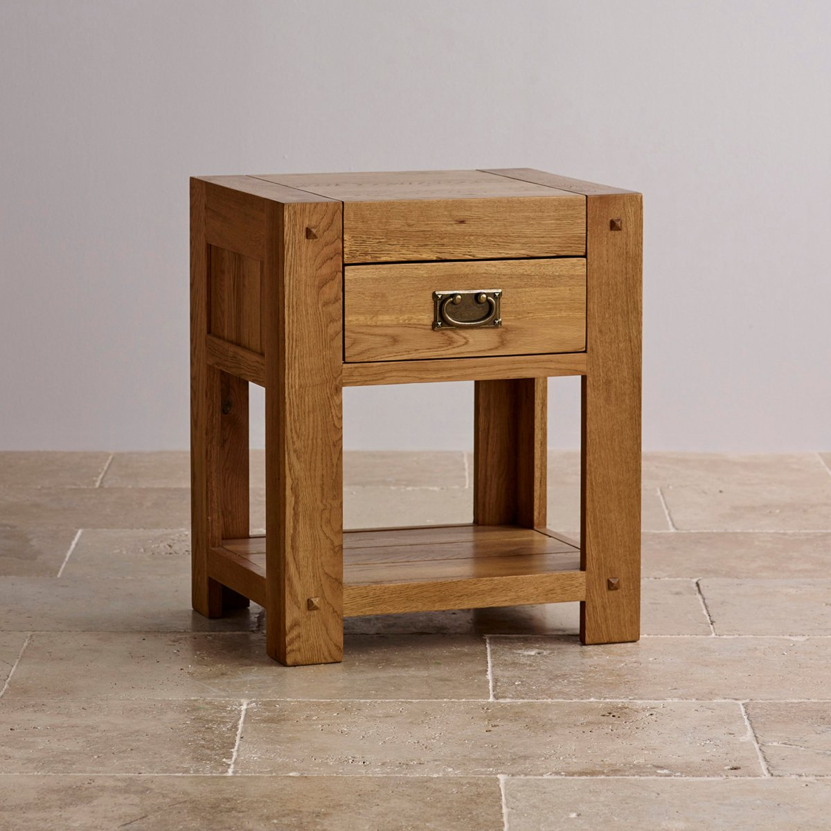 Quercus 1 drawer bedside table rustic solid oak for 1 drawer bedside table