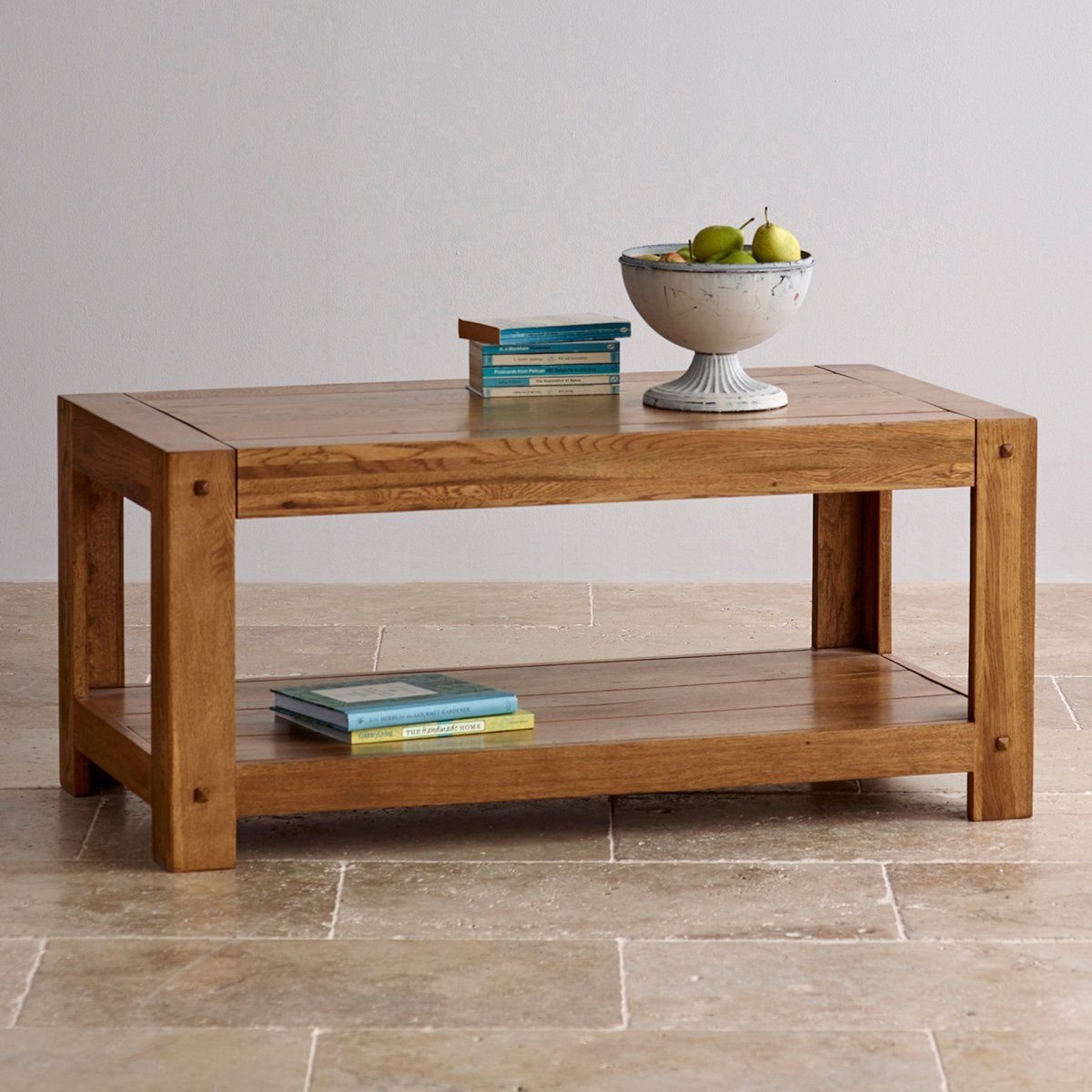 Quercus coffee table in rustic solid oak oak furniture land for Furniture land