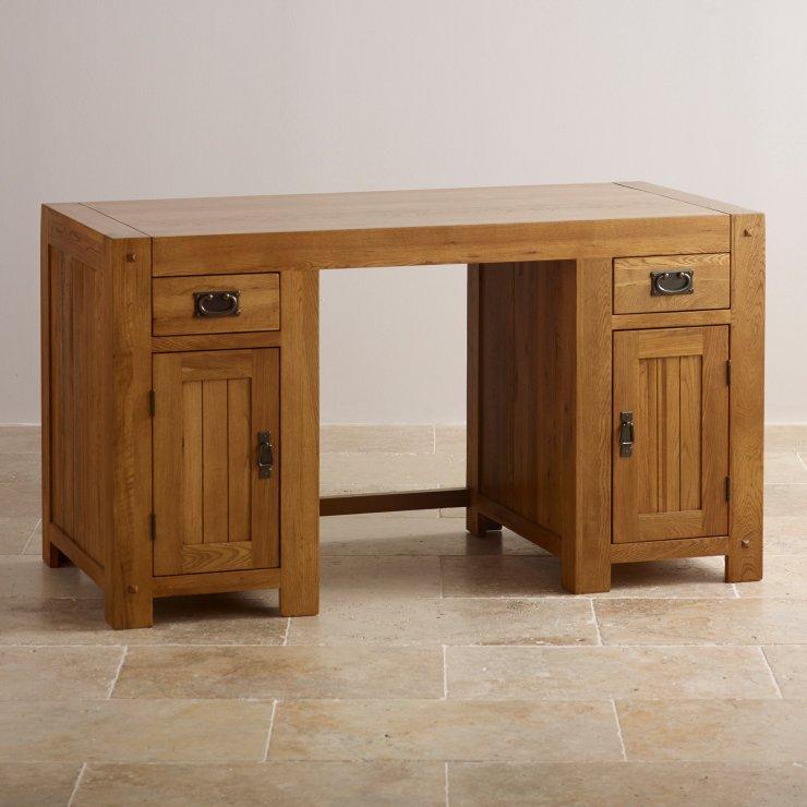 quercus computer desk rustic oak oak furniture land. Black Bedroom Furniture Sets. Home Design Ideas