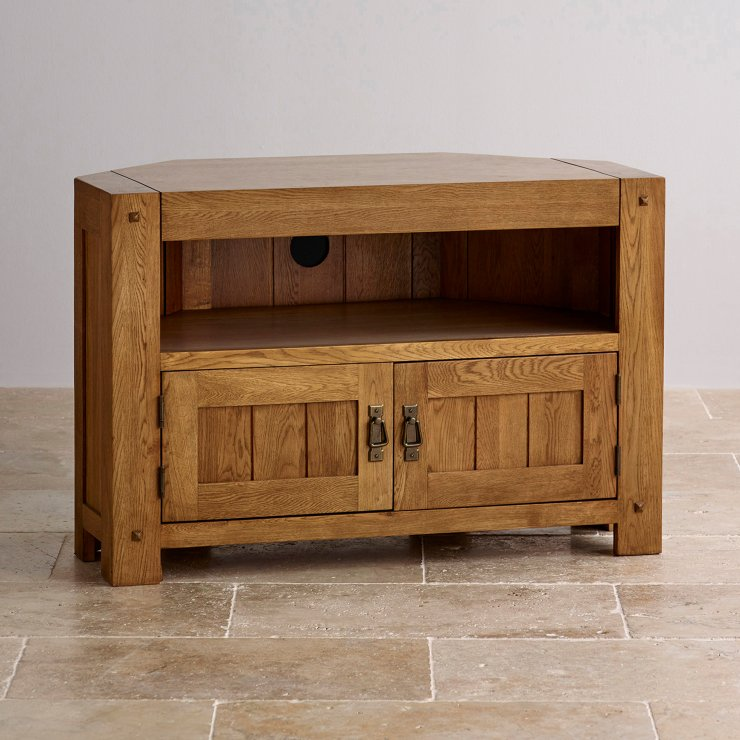 Quercus Corner TV Cabinet In Rustic Solid Oak