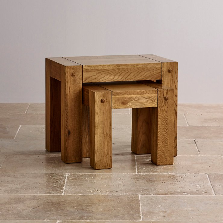 Quercus Rustic Solid Oak Nest of Tables