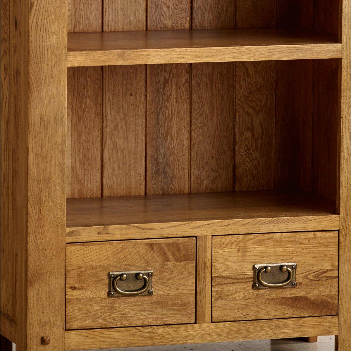 Quercus tall bookcase in rustic oak oak furniture land for Oak furniture land