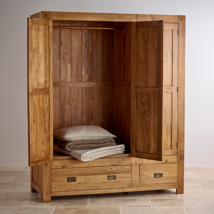 Quercus Rustic Solid Oak Triple Wardrobe