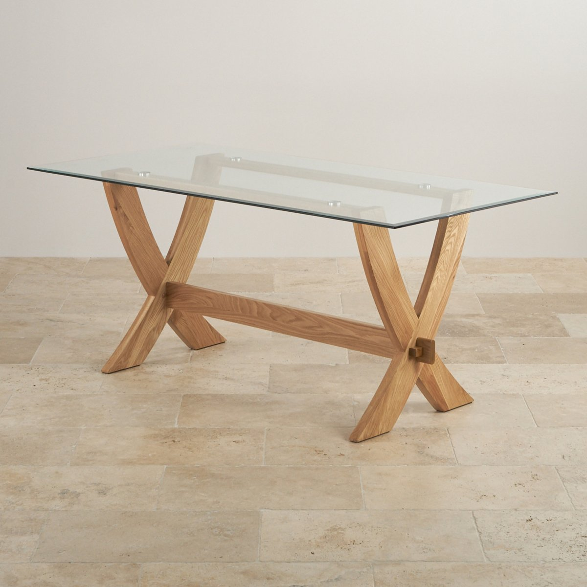 Reflection Crossed Leg Dining Table with Glass Top in  : reflection 6ft x 3ft glass top and natural solid oak crossed leg dining table 573de47badd3b96c215641e673182e467d9ea91743c0c from www.oakfurnitureland.co.uk size 1200 x 1200 jpeg 141kB