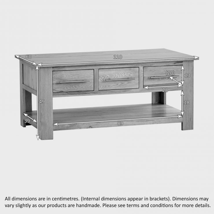 Rivermead Natural Solid Oak 6 Drawer Storage Coffee Table