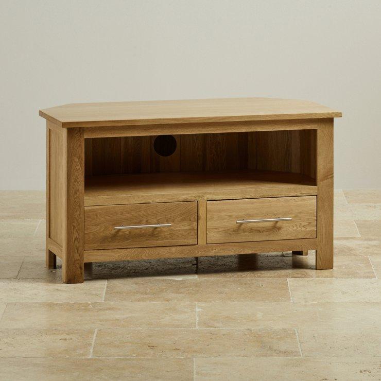 Rivermead corner tv cabinet in solid oak oak furniture land for Furniture land