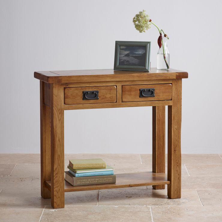 Rustic Console Table In Solid Oak Oak Furnitureland