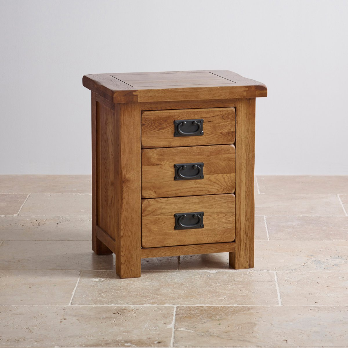 Original rustic 3 drawer bedside cabinet oak furniture land for Solid oak furniture