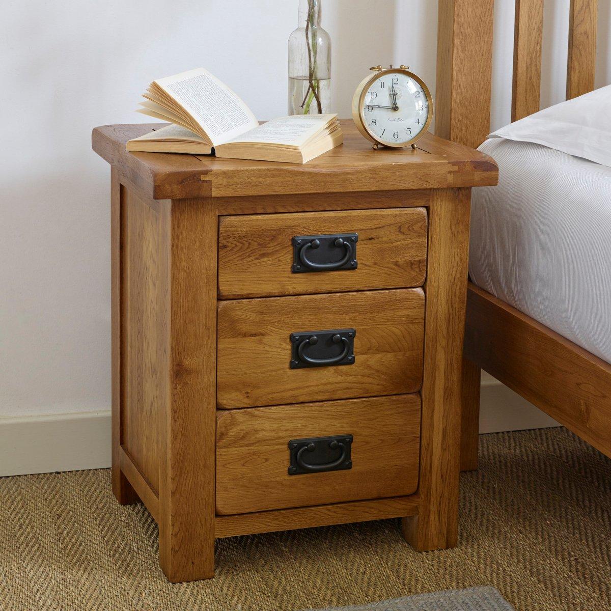 Original rustic 3 drawer bedside cabinet oak furniture land for Furniture land