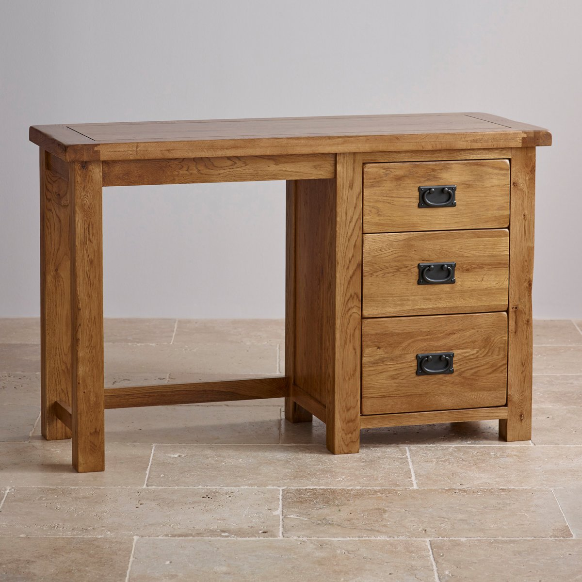 Original rustic dressing table in solid oak