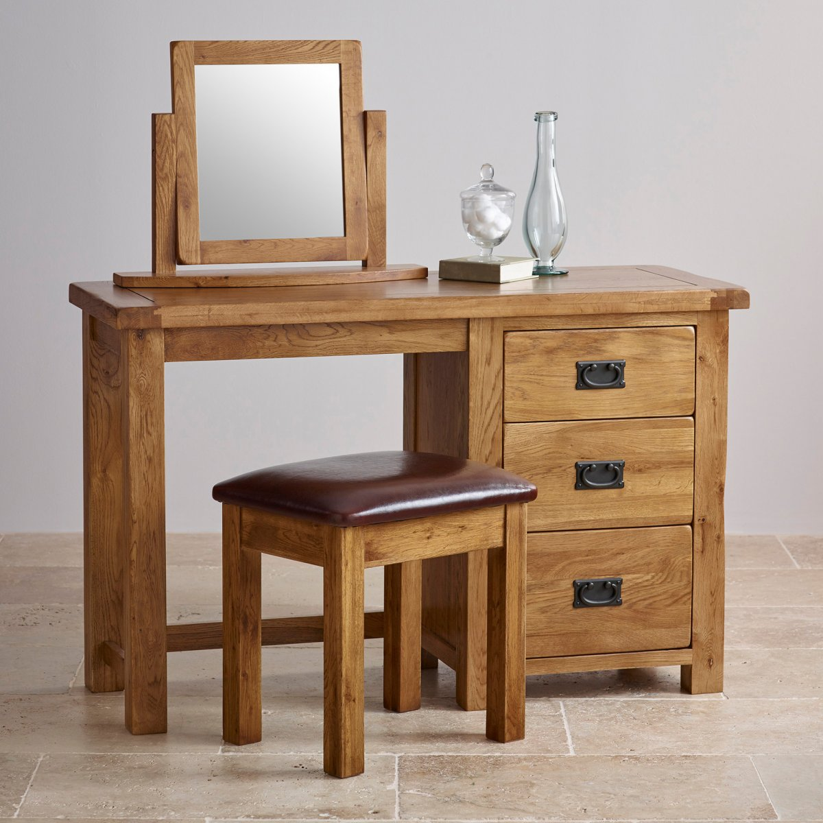 Original rustic dressing table set in solid oak