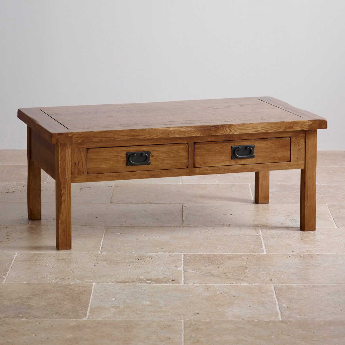 Coffee Table Leather Drawers: Original Rustic 4 Drawer Coffee Table In Solid Oak