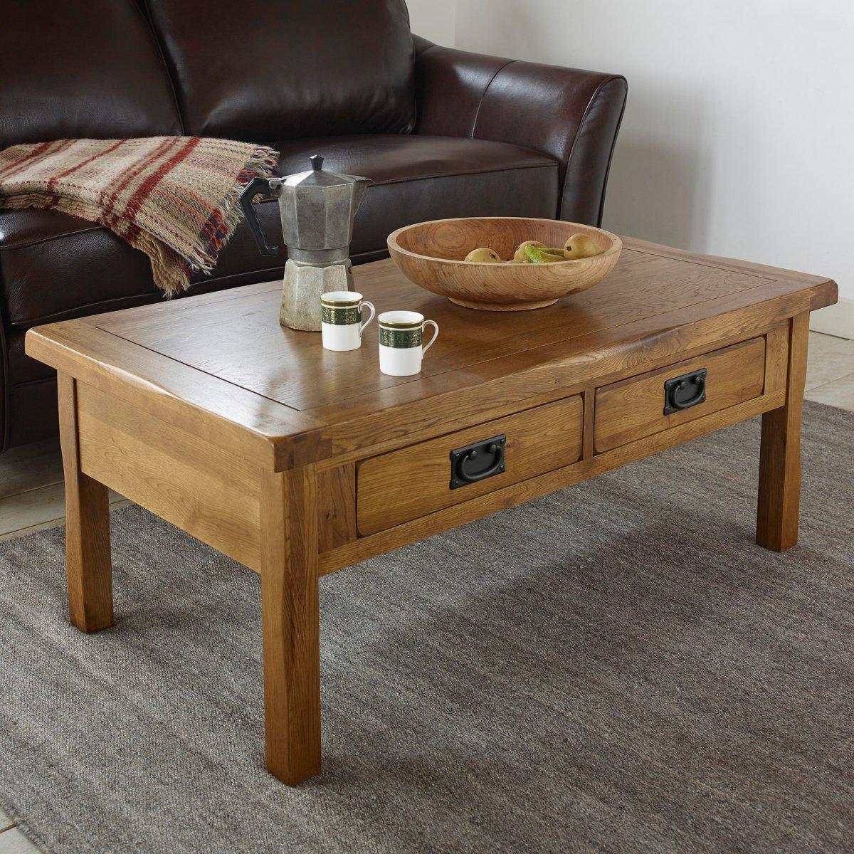 Original rustic 4 drawer coffee table in solid oak for Oak coffee table