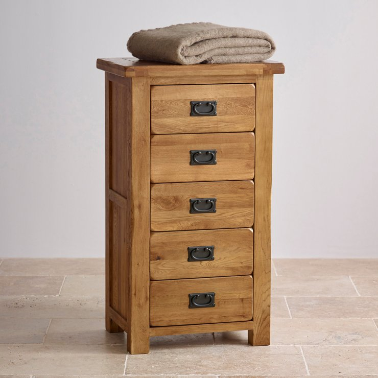 Original Rustic Solid Oak 5 Drawer Tallboy