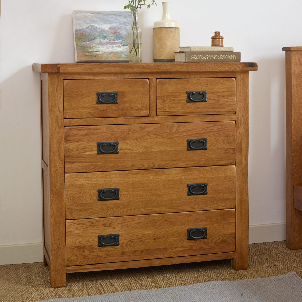 Original rustic chest of drawers in oak