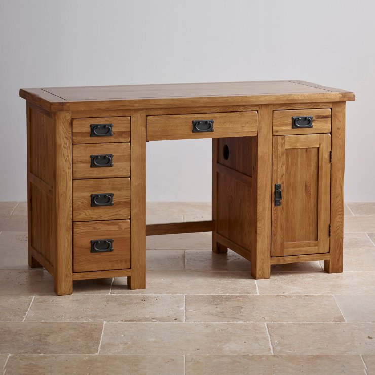 Original rustic computer desk in solid oak oak furniture for Oak furniture land