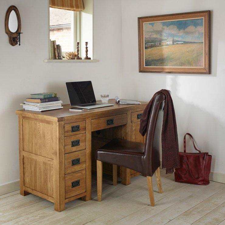original rustic computer desk in solid oak oak furniture. Black Bedroom Furniture Sets. Home Design Ideas