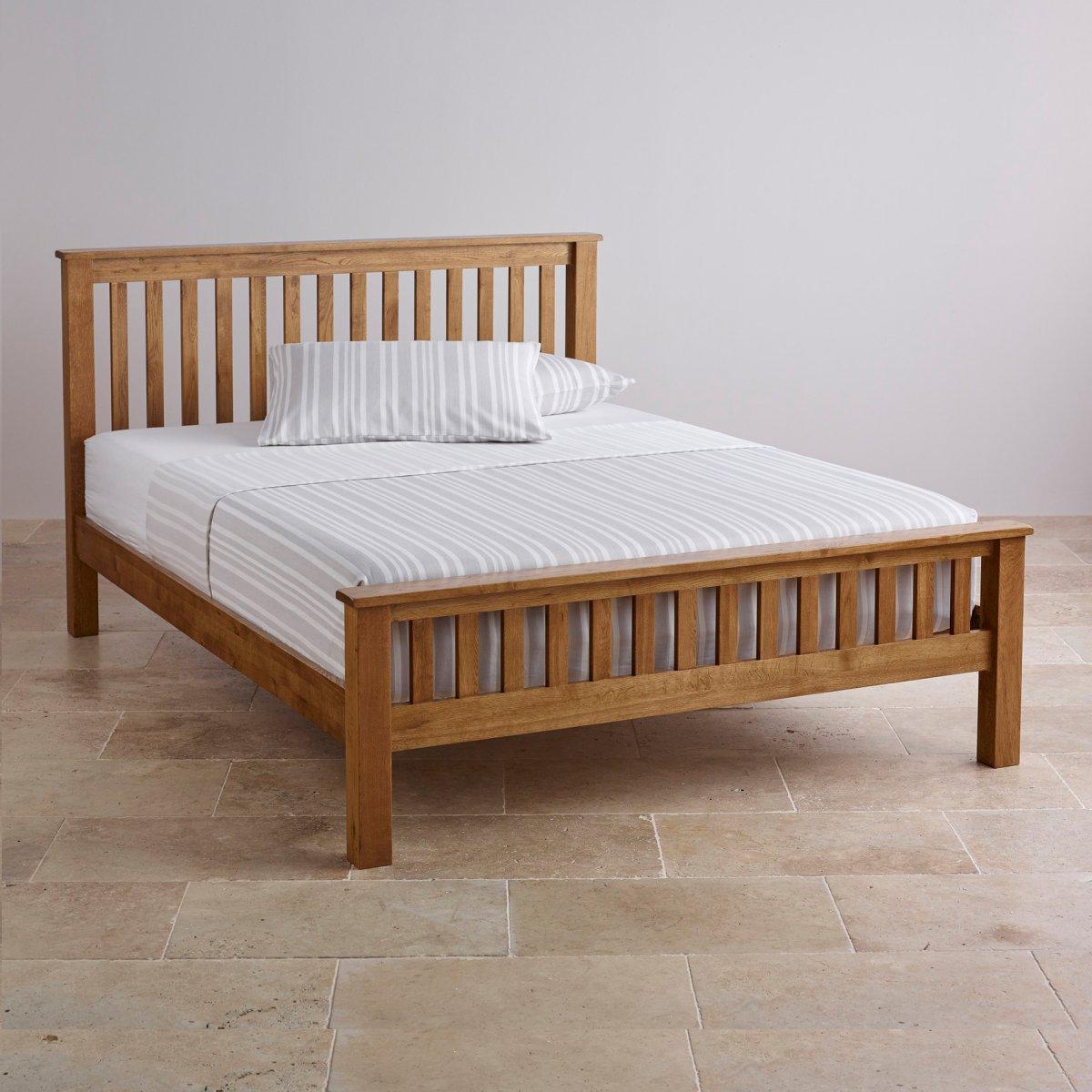 Original Rustic Double Bed In Solid Oak