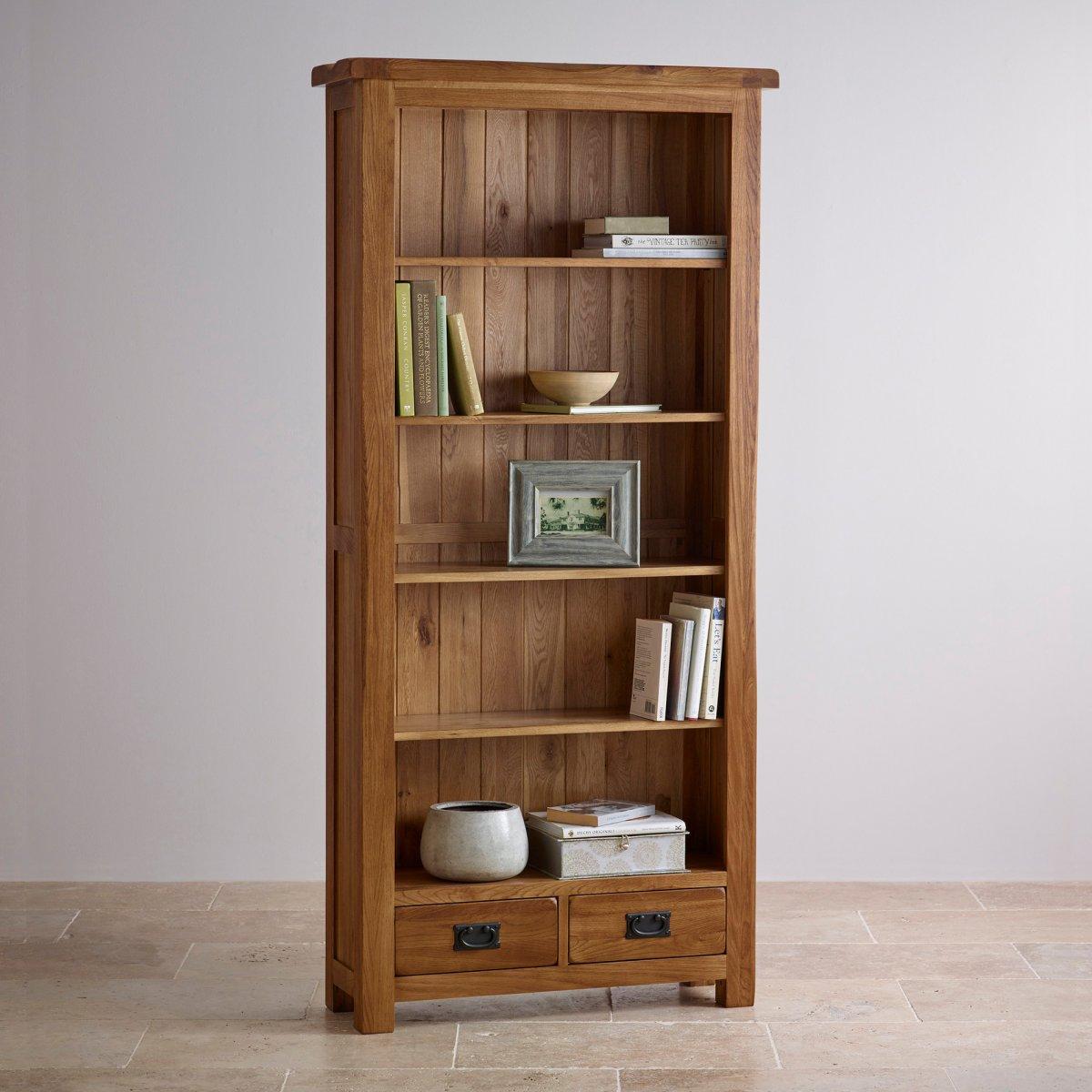 Original Rustic Tall Bookcase in Solid Oak | Oak Furniture ...