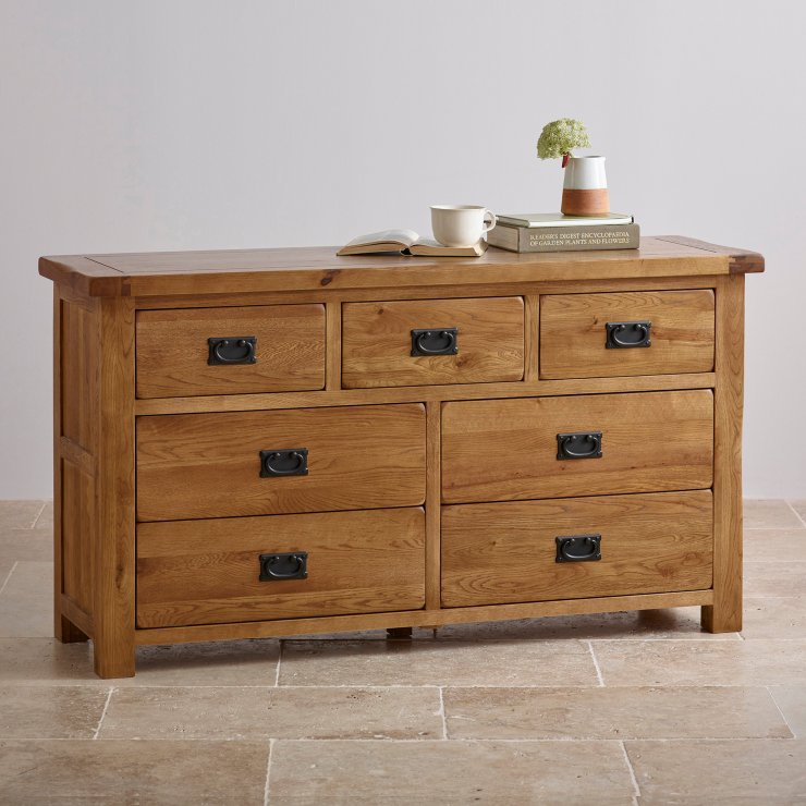 Original rustic chest of drawers in solid oak