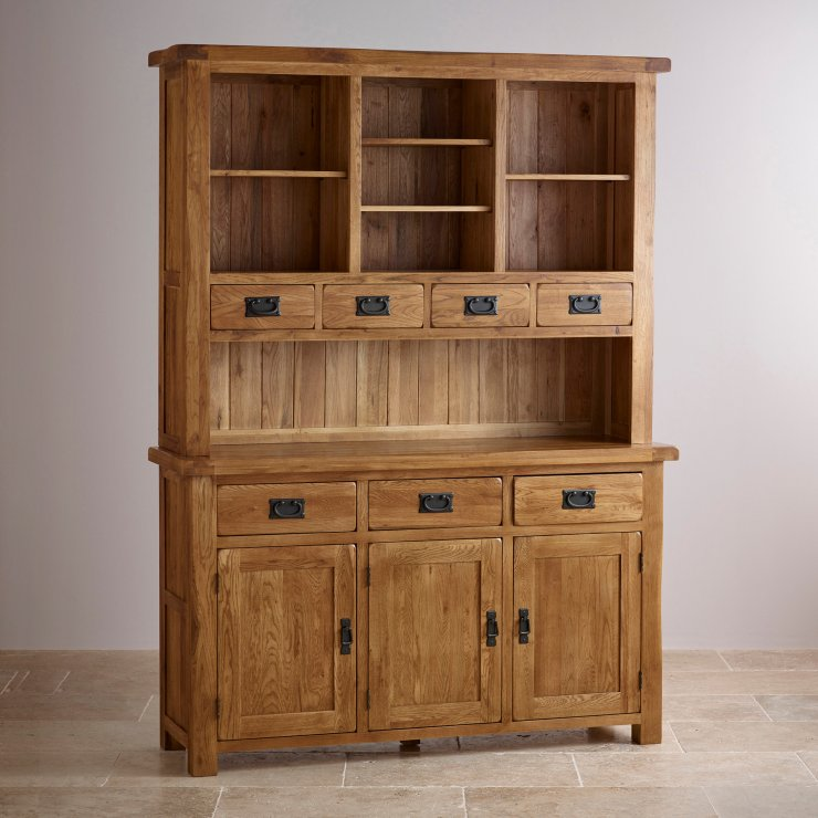 Original Rustic Large Dresser In Solid Oak Oak Furniture