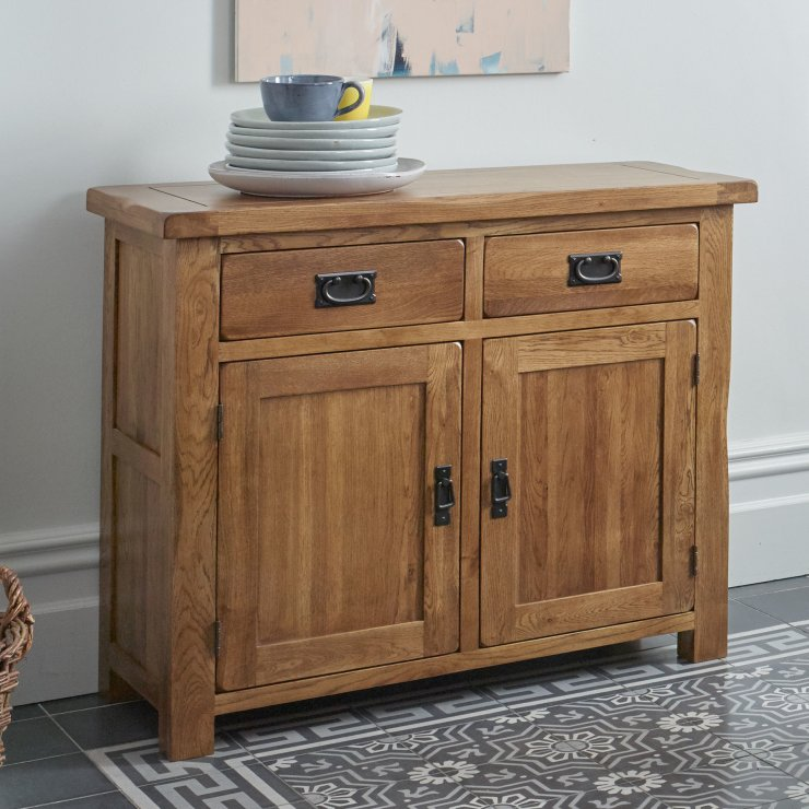 Original rustic solid oak small sideboard oak furniture land for Oak furniture land
