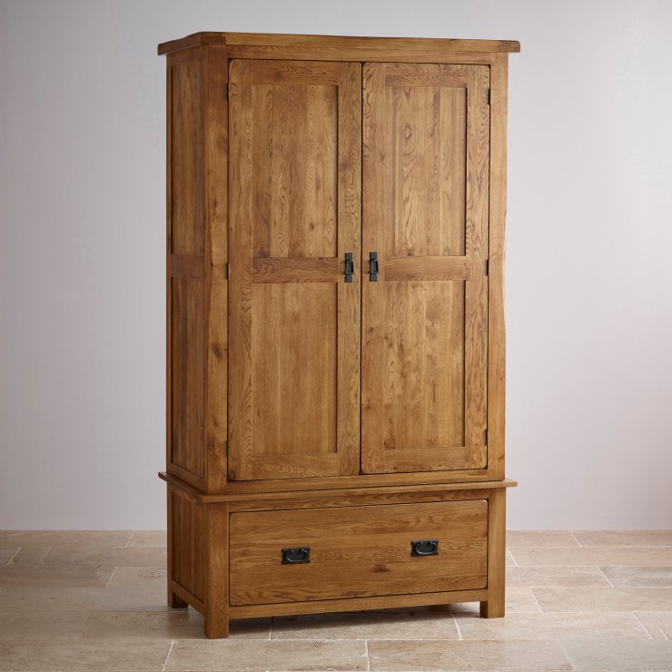 original rustic double wardrobe in solid oak oak. Black Bedroom Furniture Sets. Home Design Ideas