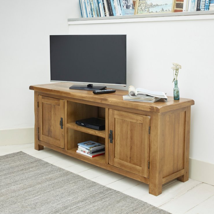 Original Rustic Solid Oak Large TV Cabinet