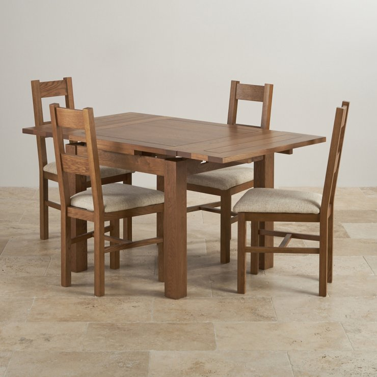Rustic oak dining set 3ft table with 4 beige chairs for Oak farmhouse kitchen table and chairs