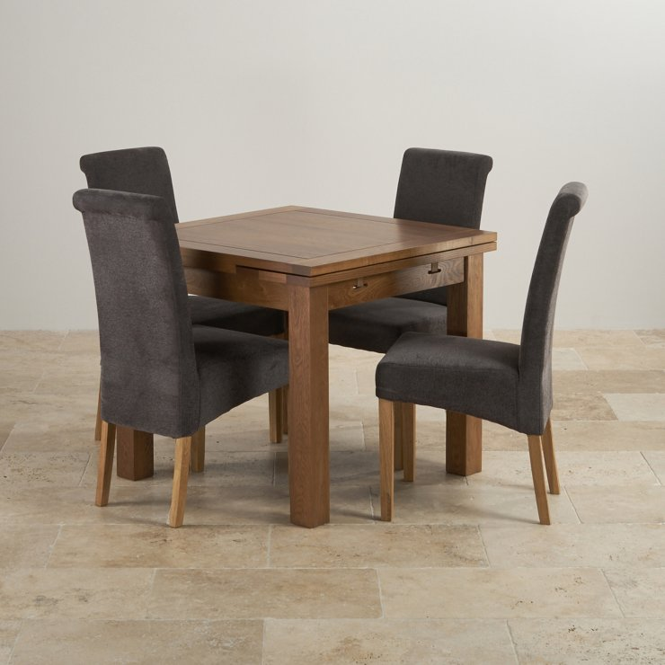 Extendable Dining Set In Rustic Brushed Solid Oak: Rustic Oak Dining Set: 3ft Extending Table + 4 Scroll Back