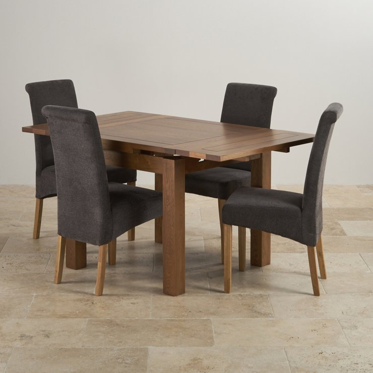 Rustic Real Oak Dining Set - 3ft Extending Table with 4 Scroll Back Plain Charcoal Fabric Chairs