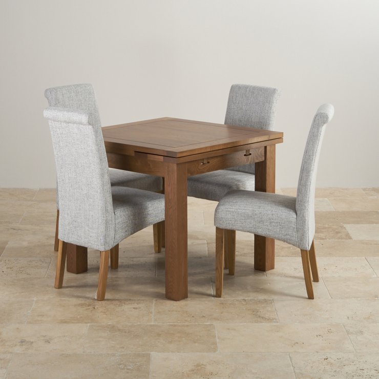 Rustic Real Oak Dining Set - 3ft Extending Table with 4 Scroll Back Plain Grey Fabric Chairs