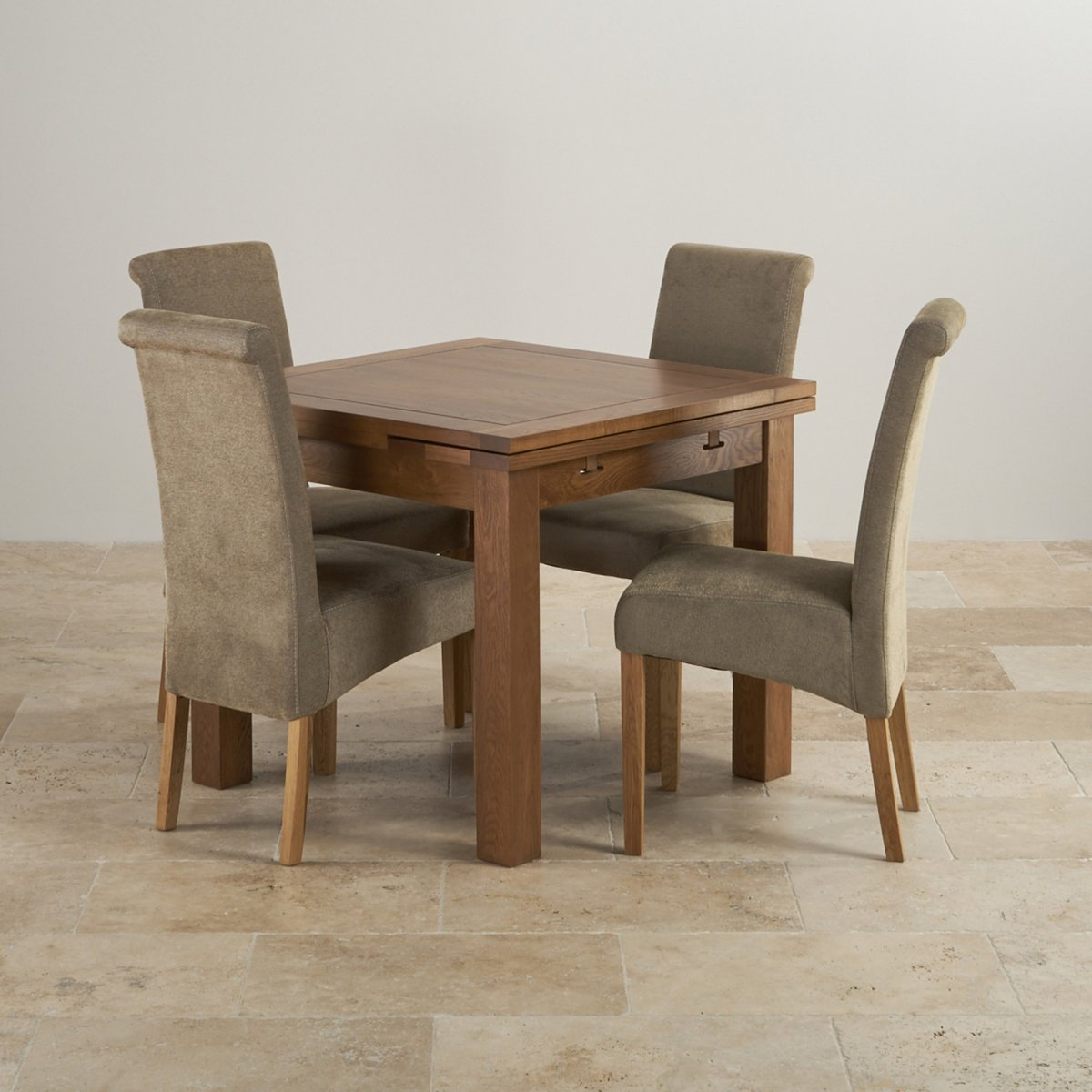 Rustic Dining Set In Real Oak: Extending Table + 4 Sage Chairs