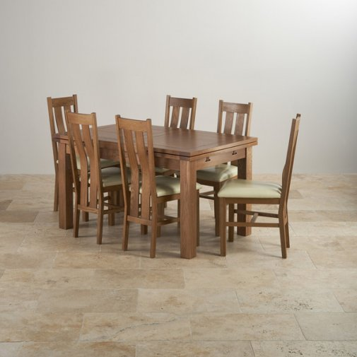 Rustic Oak 4ft 7 Dining Table With 6 Sage Chairs: Original Rustic Range