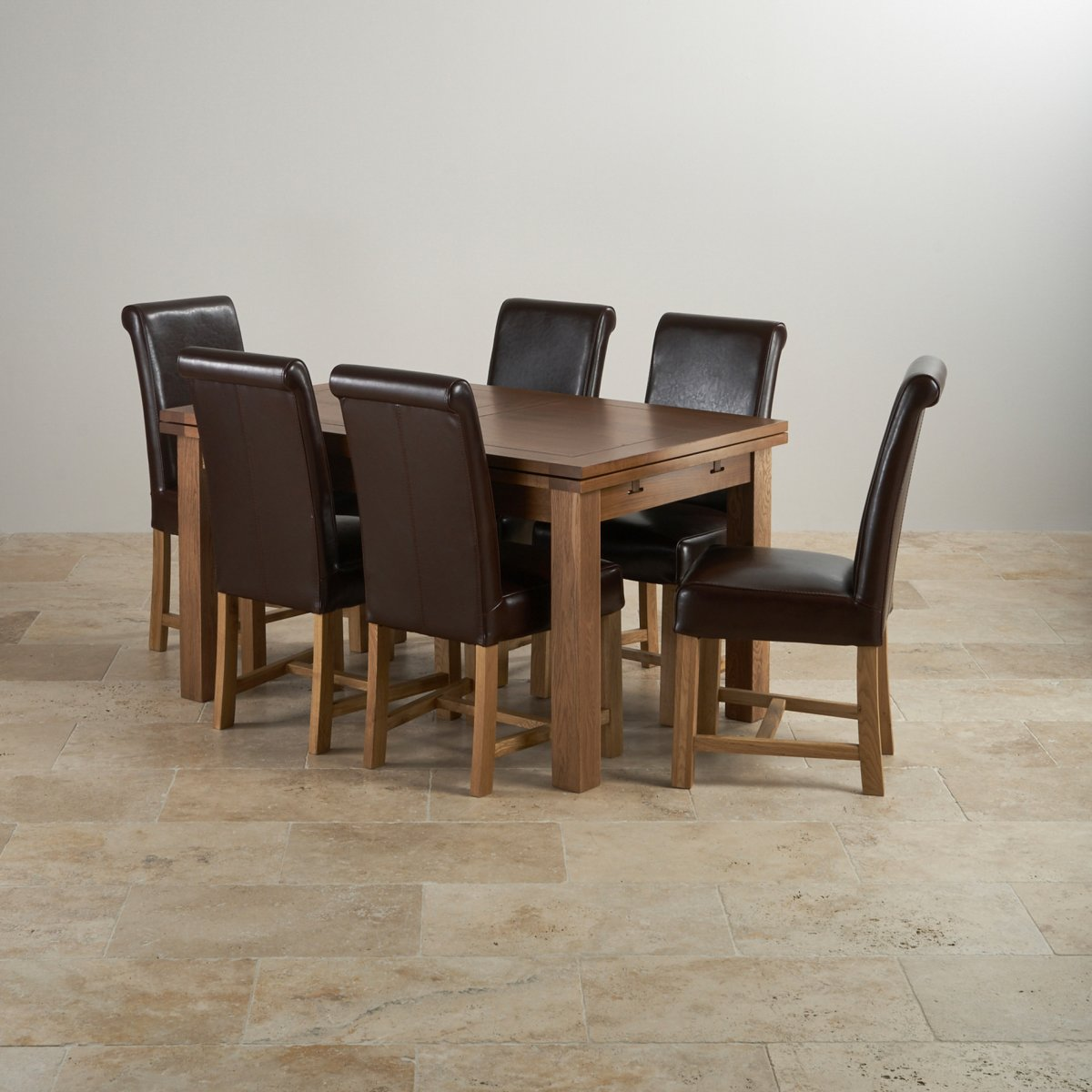 Rustic oak extending dining set 4ft 7 table 6 leather chairs - Extended dining table sets ...