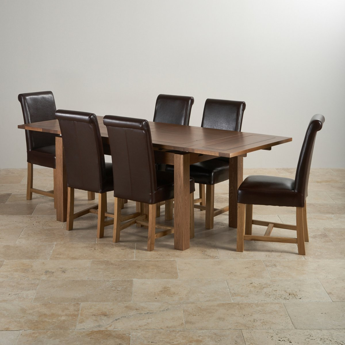 Leather Dining Set: Rustic Oak Extending Dining Set