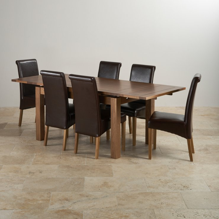 "Rustic Real Oak Dining Set - 4ft 7"" Extending Table with 6 Scroll Back Brown Leather Chairs"