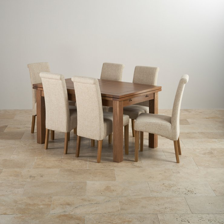 "Rustic Solid Oak Dining Set - 4ft 7"" Extending Table with 6 Scroll Back Plain Beige Fabric Chairs"
