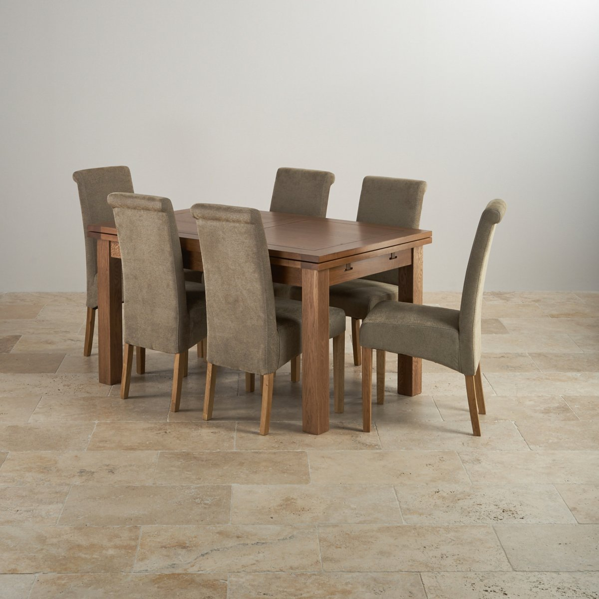 "Edinburgh Extending Dining Set In Oak Dining Table 6 Chairs: Rustic Oak 4ft 7"" Dining Table With 6 Sage Chairs"