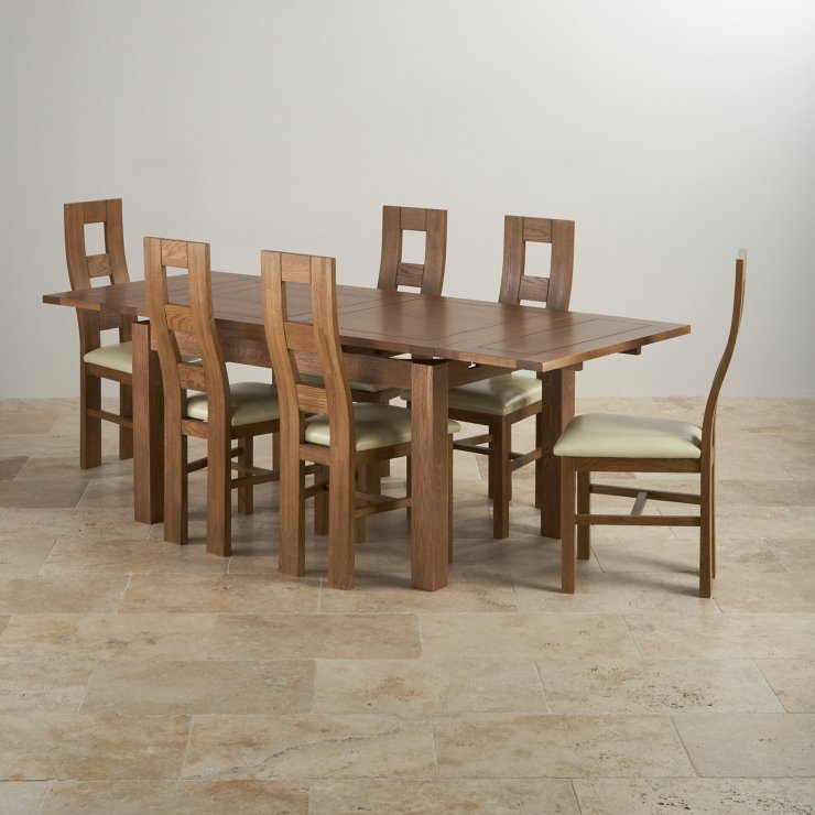 Rustic Solid Oak Dining Set 4ft 7 Table With 6 Chairs