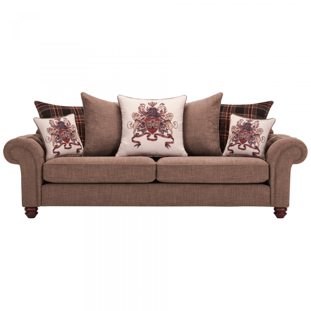 Sandringham 4 Seater Pillow Back Sofa in Coffee + Scatters