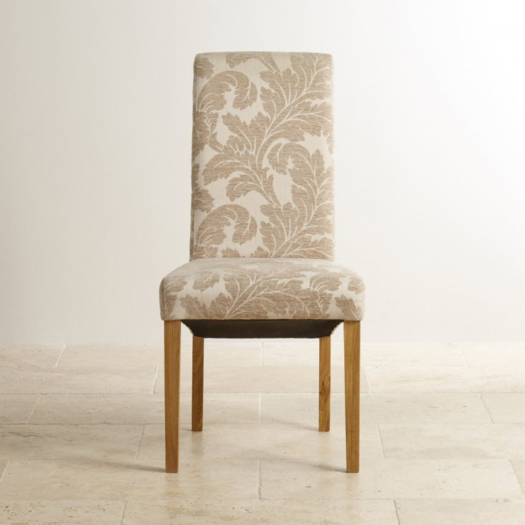 Scroll Back Patterned Beige Fabric Chair with Solid Oak Legs