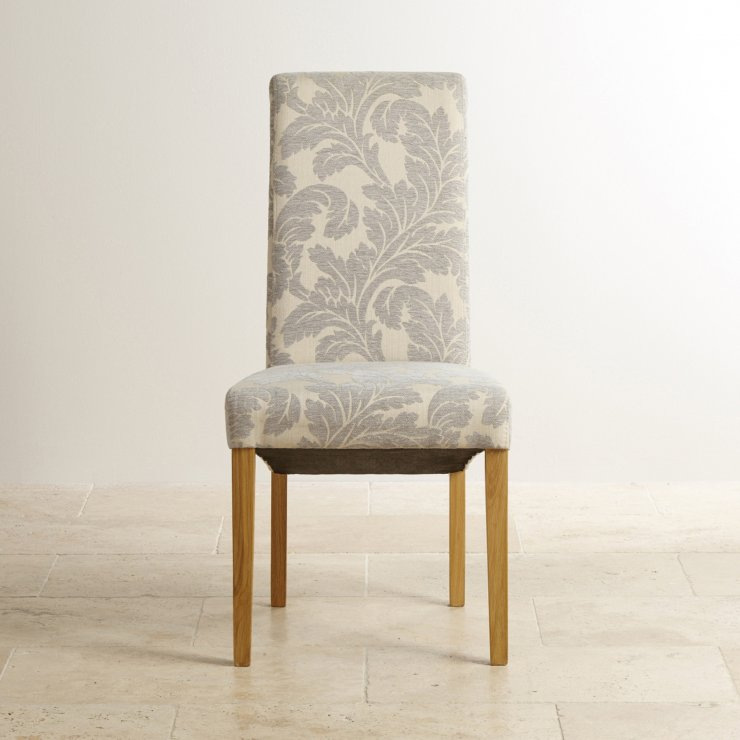 Scroll Dining Chair In Solid Oak Patterned Grey Fabric