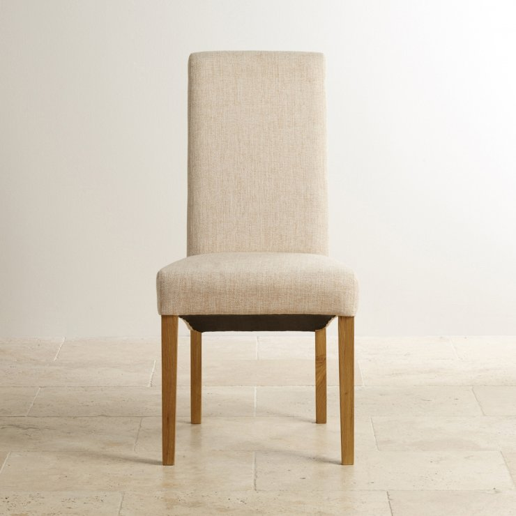Scroll Back Plain Beige Fabric Chair with Solid Oak Legs