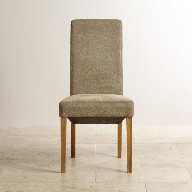 Scroll Back Plain Sage Fabric Chair with Solid Oak Legs