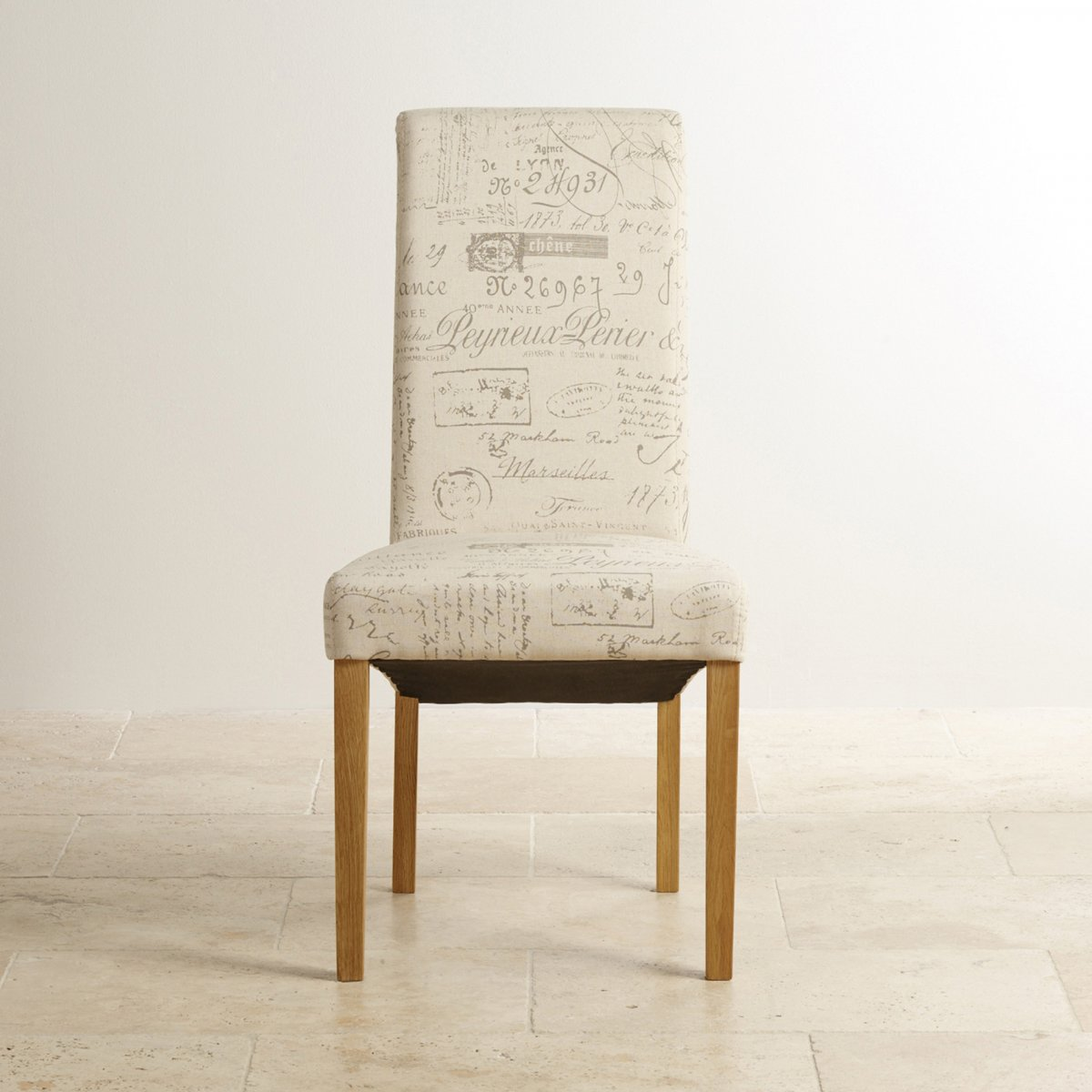 Scroll Back Fabric Chair Scripted Beige With Solid Oak Legs