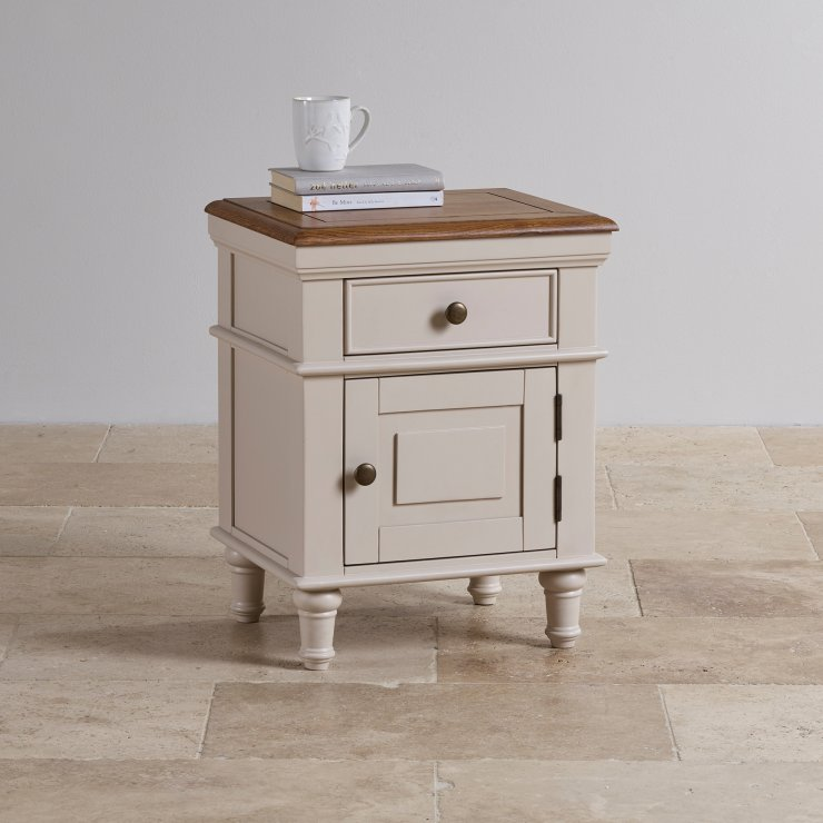 Shay Rustic Oak and Painted 1 Drawer Bedside Table