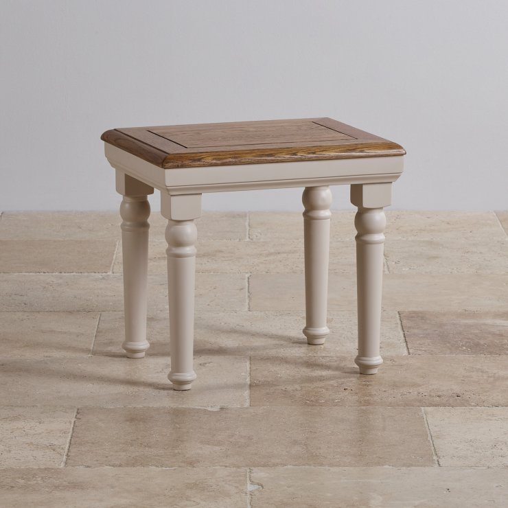 Shay Rustic Oak and Painted Table Dressing Stool